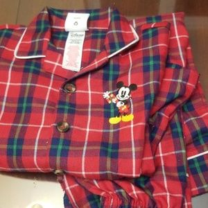 Disney Christmas plaid pajamas EUC